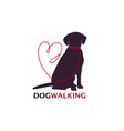 dog walking logo template with sitting dog vector image vector image