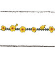 doodle floral line with yellow pansy flower vector image vector image