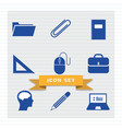 education icon set flat style vector image