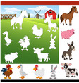 find the correct shadow farm animals vector image