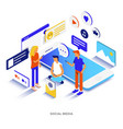 flat color modern isometric - social media vector image vector image