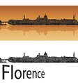 Florence skyline in orange background vector image