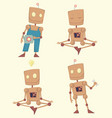funny cartoon robot set vector image