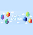 happy easter horizontal banner with a lettering vector image vector image