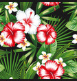 hibiscus plumeria flowers green leaves seamless vector image vector image