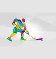hockey player abstract color silhouette vector image vector image