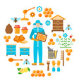 honey beekeeping flat icons set vector image vector image