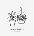 house flowers in flower pots flat line icon vector image vector image