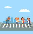 kids crossing road in city cartoon vector image vector image