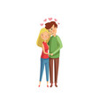 lovely hugging couple pink hearts flying above vector image