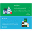 medication and pharmacy web posters antibiotics vector image vector image