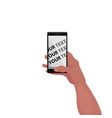 mockup of screen of smartphone in hand vector image