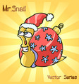 mr snail with christmas toys vector image vector image
