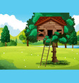 old treehouse in the park vector image vector image