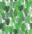 On a white background tropical leaves pattern vector image vector image