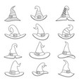 outline witch hat decoration halloween icons set vector image vector image