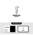 penguin logo template free business card mockup vector image