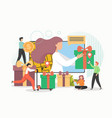 people giving gifts for customers online shoppers vector image