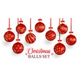 red glass christmas balls with christmas ornament vector image