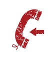 Red grunge incoming call logo vector image vector image
