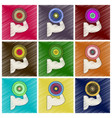 set of flat shading style icons logo bicep vector image vector image
