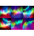 set of northern lights backgrounds vector image vector image
