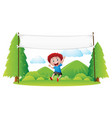 sign template with boy jumping in the park vector image vector image