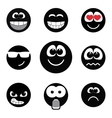 Smiley faces expressing different feelings black vector image vector image