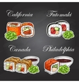 sushi color sticker set vector image