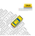 taxi car signboard on the white background vector image vector image