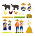 thai farmer with animals set vector image vector image