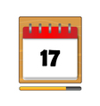 The seventeenth day in a calendar vector image