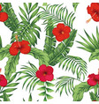 tropical pattern leaves flowers seamless white vector image vector image