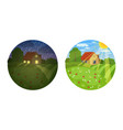 view small country house in different times of vector image vector image