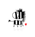 zebra sketch for your design vector image vector image