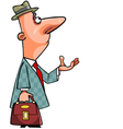 cartoon man in a coat and hat looking up vector image