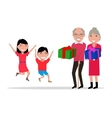 grandparents give their grandchildren gifts vector image