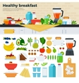 Healthy breakfast on the table in kitchen vector image