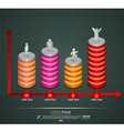 3D graph With business man action icons vector image vector image