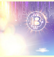 abstract bokeh background with shining bitcoin vector image