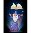 An old wizard below the floating empty book vector image vector image