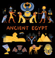 ancient egypt decorative icons set vector image
