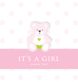 Baby Girl Teddy Card vector image vector image