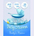 baby shower boy invitation template with toys vector image vector image