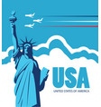 banner with statue liberty and flying planes vector image vector image