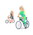 cartoon mother girl kid bicycle vector image vector image