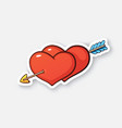 cartoon sticker two hearts with arrow vector image