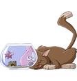 cat and an aquarium vector image