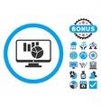 Charts Monitoring Flat Icon with Bonus vector image