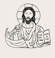 Christ with Bible vector image vector image